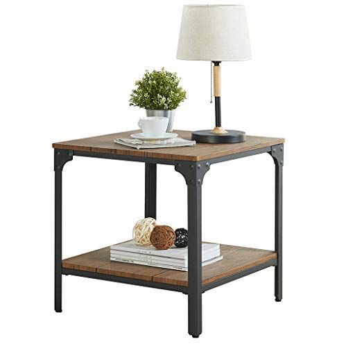 Homissue 21 7 Height Industrial Square Sofa Side Table Metal Frame Accent End Table With Storage Shelf For Sofa Side Table End Tables With Storage Side Table