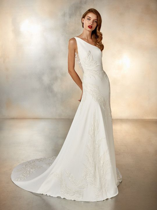 One Shoulder Crepe Sheath Wedding Dress With Beaded Detail And Beautiful Back Details Pronovias I Style Pronovias Wedding Dress Wedding Dresses Bridal Dresses