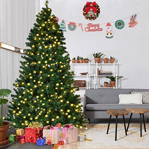 Goplus 8ft Prelit Pvc Artificial Christmas Tree Autospread Close Up Premium Spruce Hinged W Le Pre Lit Christmas Tree Real Christmas Tree Pencil Christmas Tree