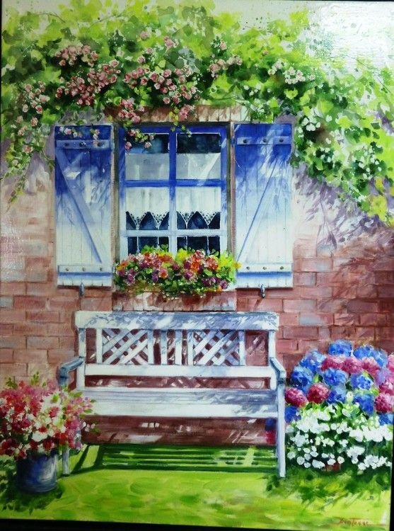 Le vieux banc 2 painting 60x80 cm 2015 par jean for Fenetre 60x80