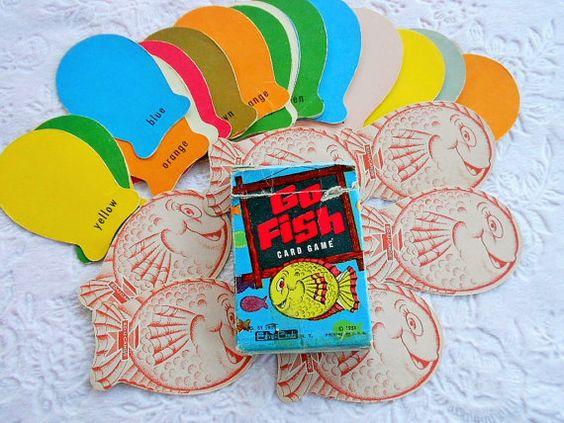 This is an adorable vintage Go Fish Card Game set    In original box...dated 1951    Box has wear Made by Ed-u-cards    Complete set of 36 cards