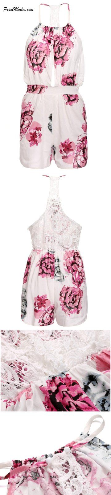 $15.99 Only, Casual Summer Wear Pink Floral Chiffon Rompers / Jumpsuit Open Back…