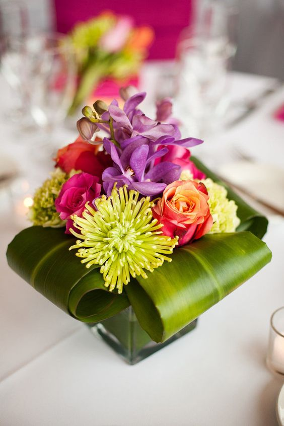 Bold colors, modern styling ~ wedding #centerpiece. Photography by sarahpostma.com, Floral Design by flowersbyarrangement.com