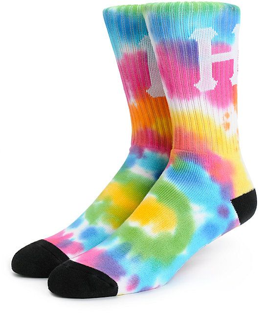 """Brighten any outfit with an all over multicolor tie dye design with a a jacquard knit classic """"H"""" upper and HUF text under the foot."""