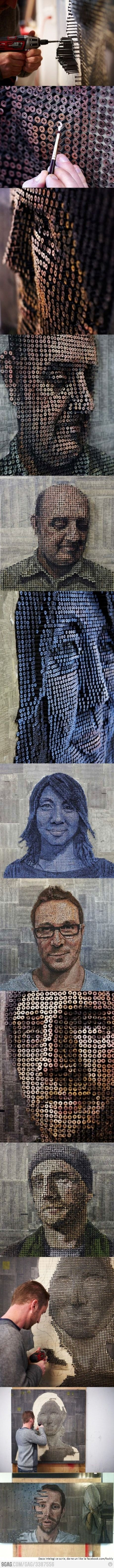 Relief portraits made out of screws by Andrew Myers