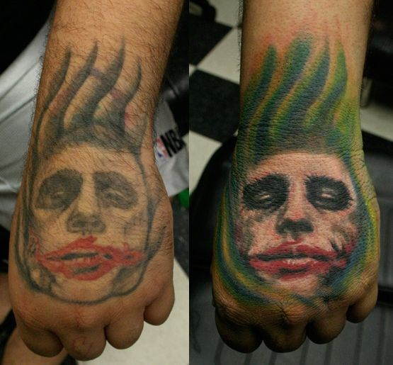 Joker Tattoo On Hand: Heath-ledger-joker-face-tattoo-on-hand.jpg (555×515