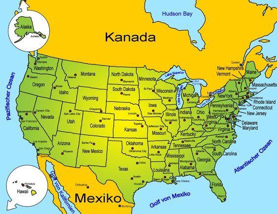 Nordamerika Lander Und Bundesstaaten Der Usa Amerika Karte