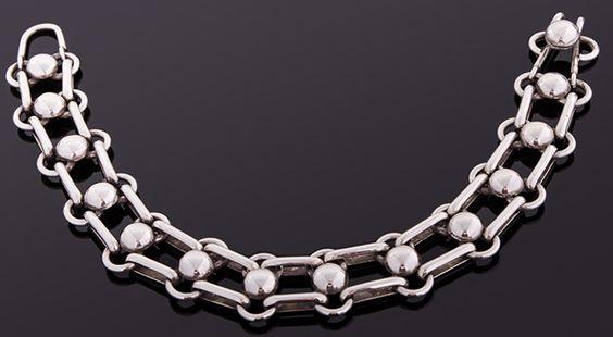 Single Row Dome and Link Bracelet, by Sebastian Cilento