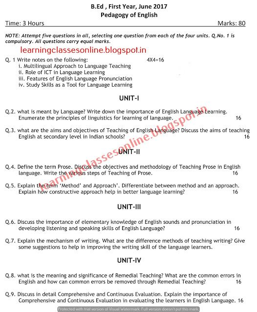 Pedagogy Of English 2017 B Ed Previous Year Question Paper