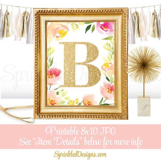 Name Initial Monogram Sign  Letter B  Printable by SprinkledDesign