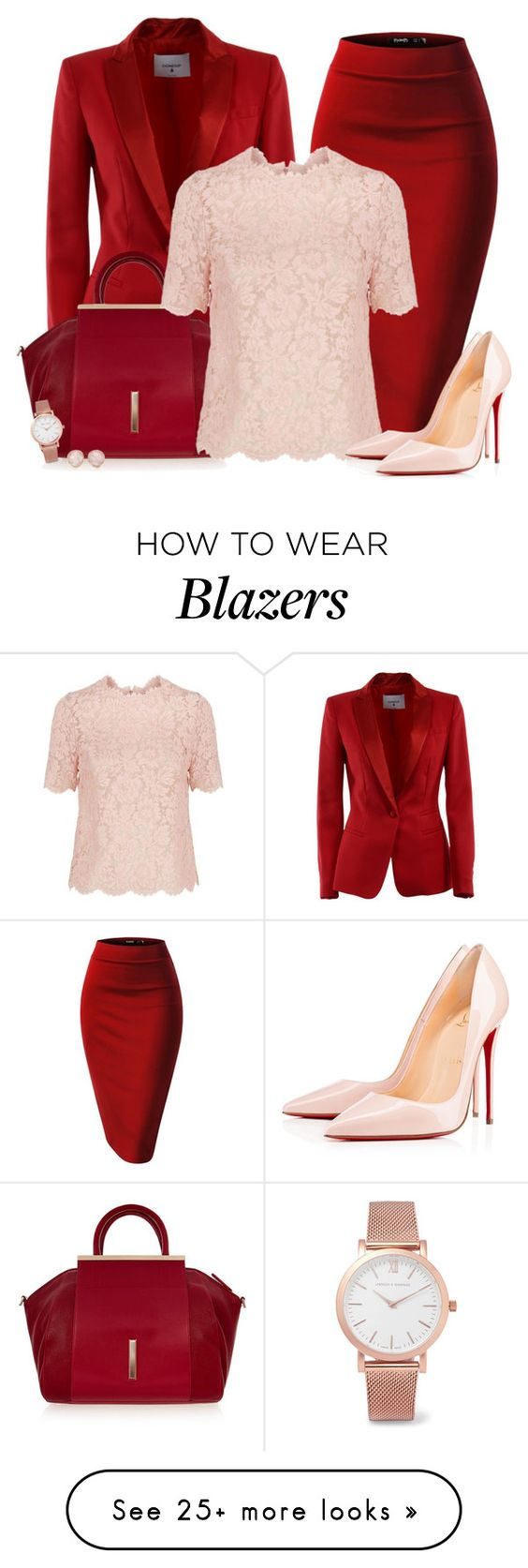 """Bottom Series 5/6: Pencil Skirt *OUTFIT ONLY!* - Contest!"" by asia-12 on Polyvore featuring Dondup, Raoul, Valentino, Christian Louboutin, Larsson & Jennings and Monica Vinader"