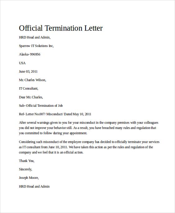 sample termination letter examples word pdf notice template free - employee termination letter