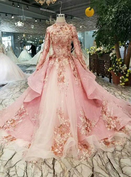 Silhouette Ball Gown Hemline Floor Length Neckline High Neck Fabric Tulle Shown Color Pink Sleeve Style Vestidos Glamourosos Belos Vestidos Vestidos Incriveis