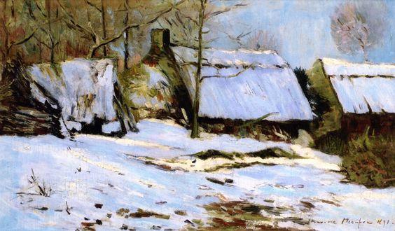 Maxime Maufra - Chaumières dans la neige (1891)
