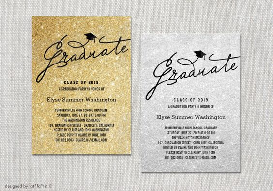 Graduate Script Sparkling Glitter Graduation Announcement & Party Invitation | Custom Mortar Board Photo Card Invite | PRINTED / PRINTABLE by fatfatin on Etsy https://www.etsy.com/listing/191496557/graduate-script-sparkling-glitter