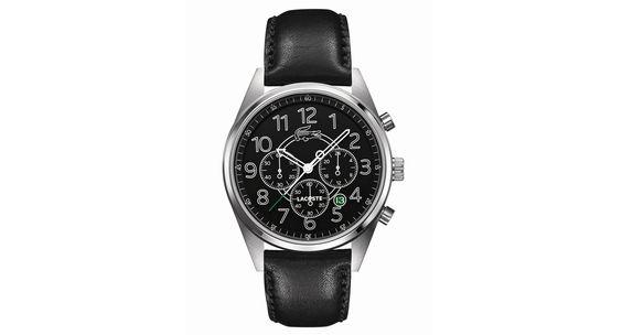 Lacoste Watch, Men's Chronograph Zaragoza Black Leather Strap 43mm 2010621