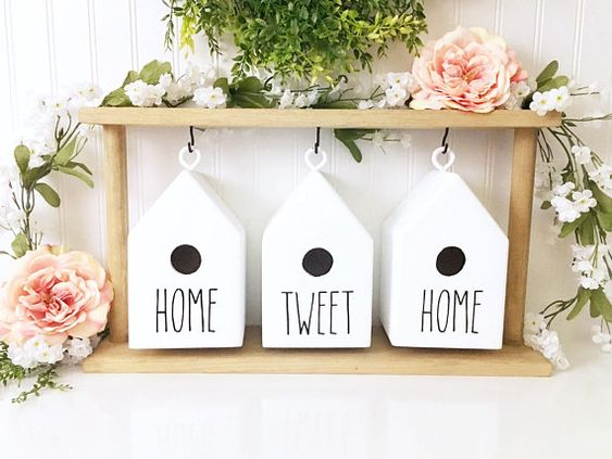rae dunn inspired birdhouse set with stand | birdhouse decor | spring decor | home sweet home | Wood