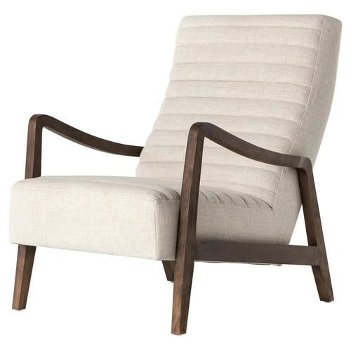 Chance Modern Linen Upholstered Lounge Chair Upholstered Accent