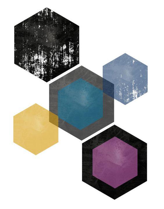 Printable Wall Art Hexagonal Print Geometric by honeytreeprints