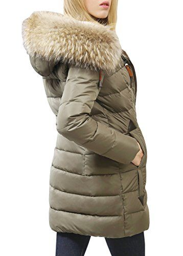 RUI-LI Women&39s Thinken Winter Down Parka Coat With Faux Fur Trim