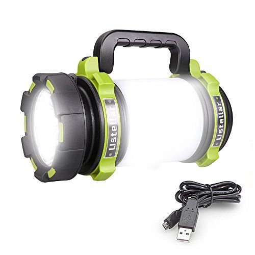 Ustellar Rechargeable 1000lm Cree Led Spotlight Multi Function Outdoor Camping Lantern Flashlight 4000mah Waterproof Led Searchlight With Usb Cable For Hikin Faro Casas