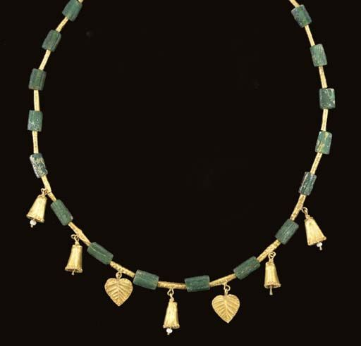 Roman Gold and Glass Necklace, ca. 2nd-3rd Century, A.D.:
