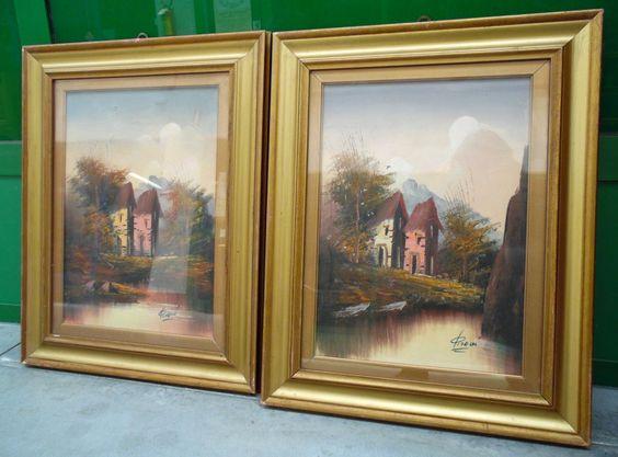 Coppia di dipinti '900 paesaggio montano olio su tela