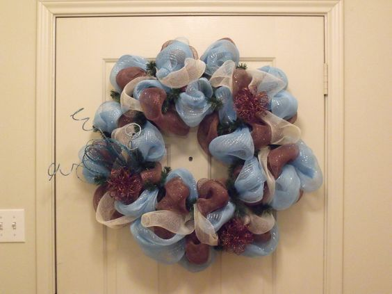 Deco Mesh Wreath  Brown & Teal by OrnamentsbyGG on Etsy, $30.00