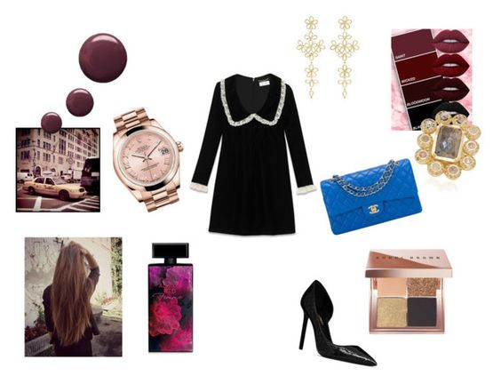 """""""Wine"""" by maria-chamourlidou ❤ liked on Polyvore featuring Yves Saint Laurent, Chanel, Lime Crime, Rolex, LFrank, Bobbi Brown Cosmetics, Elizabeth Arden and Topshop"""
