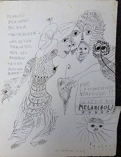 """Unica Zurn - Melancholie  Œuvre de Unica Zürn, dédicacée à Friedrich Schroeder-Sonnenstern. Dessin au recto et peinture au verso,sur papier fort type Arches, découpé par l'artiste sur la marge droite. Avec texte de l'artiste : «Vive la dépression nerveuse!!!Es lebe die melancholie.» Mehrere Personen «be-riechen» - Und keiner Darunter, Der den Anderen """"nicht Riechen Kann"""" Daté et signé 11 septembre 1964."""