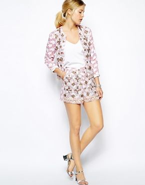 ASOS | Jacket $112.88 and Shorts $75.26 In Floral Print and Embellishment
