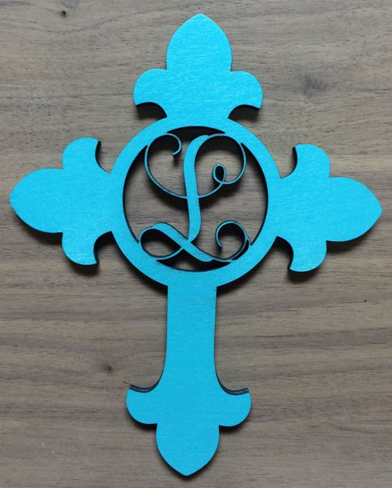 lettering on wood unfinished wood cross monogram door hanger laser cutout 7302