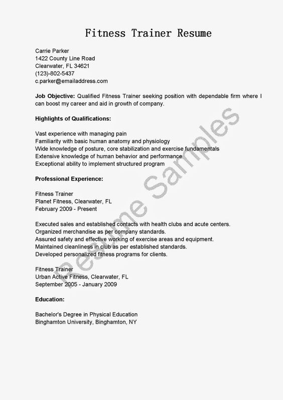 Resume Samples Fitness Trainer Resume Sample Inspiration + - fitness trainer resume