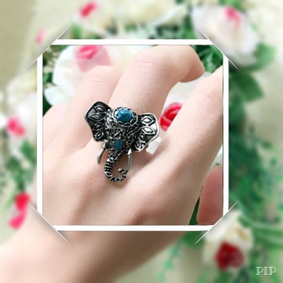 adjustable size antique elephant ring adjustable size elephant antique silver ring   Material: alloy Size: adjustable Color: antique silver and black  PLEASE DO NOT TAKE MY PICTURE. THESE ARE 100% BY ME! Jewelry Rings