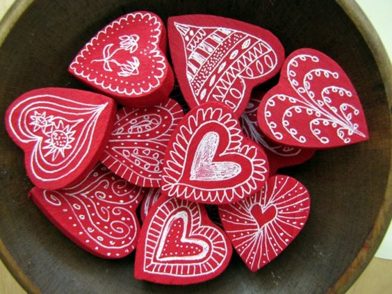 Painted Wood Wooden Hearts And Heart On Pinterest