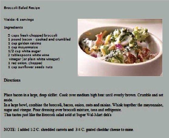 Walmart pasta and broccoli salad recipe