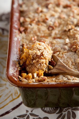 Paula Deen Sweet Potato Bread Pudding with Pecan Crumble