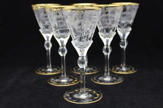 """6 ANTIQUE MOSER """"PAULA"""" CUT GLASS WINE GLASSES"""