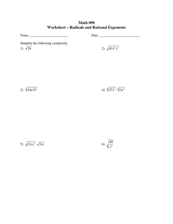 radicals with exponents – Radicals and Rational Exponents Worksheet