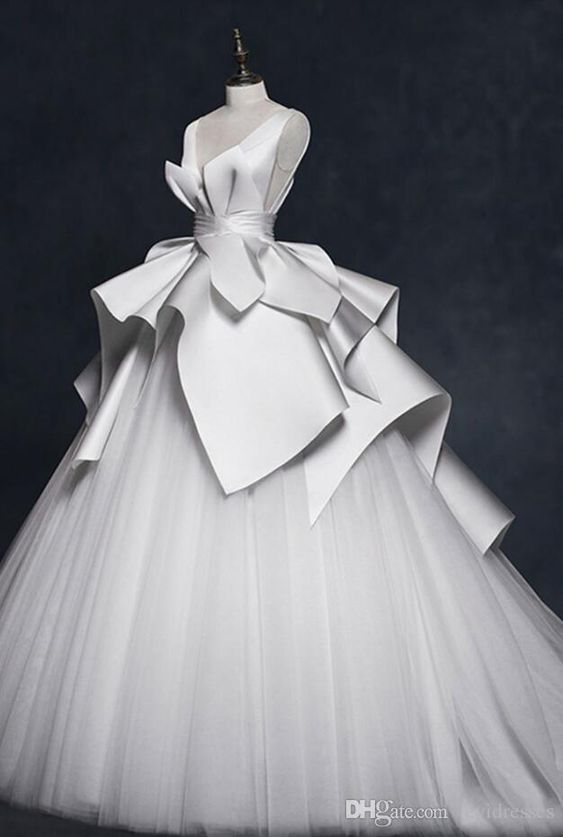 Vestidos de boda elegantes sin mangas de la falda cansada de la vendimia del vestido de bola del cuello en V Vestidos de boda que vienen nuevos