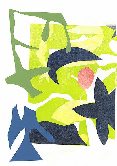 Encounter by Lucy FreemanCollage  Mono-print cut-out tropical botanic design illustration abstract