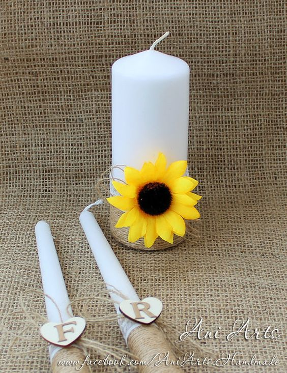 Sunflower Rustic Wedding Candles Personalized Rustic by AniArts