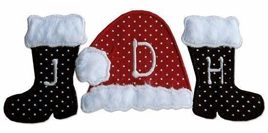 Boutique Machine applique SANTA BOOTS AND HAT MONOGRAM BLANK design