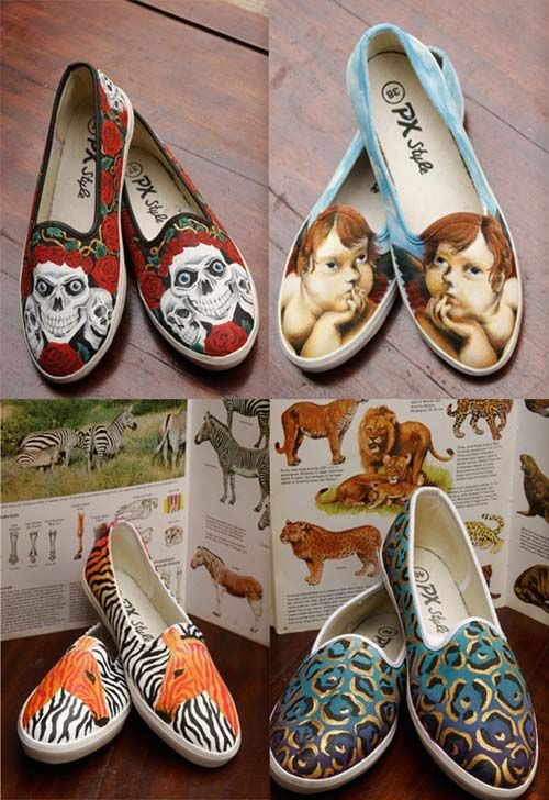 diy acrylic painting on canvas shoes decorations