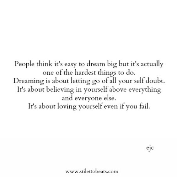 Dreaming big is hard to do... #dreambig #ejc #thoughts #wordstoliveby #quote #qotd #stilettobeats #dream #believe