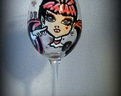 """Monster High inspired """"Draculaura"""" Fangtastic wine glass FREE SHIPPING"""