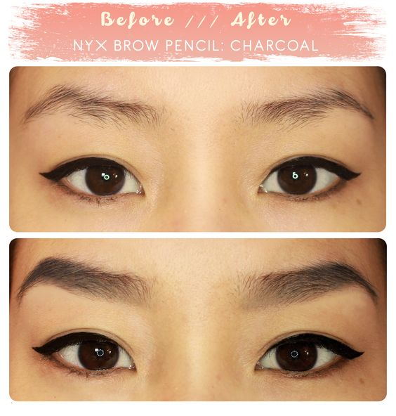 Brow before u0026 after NYX eyebrow pencil in u0026quot;charcoal ...