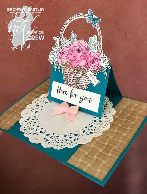 Blossoming Basket Bundle, Centre Panel Easel Card, addINKtive designs, SAB 2018