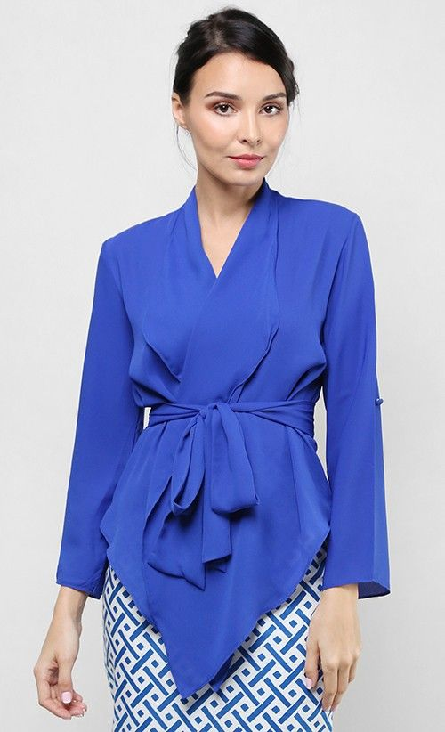 Melor Wrap Top in Persian Blue