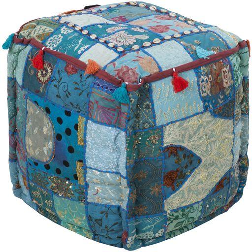 Surya Poufs Cube Pouf - Global - POUF-89